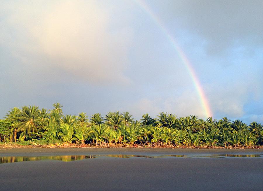 Wunderschöner Regenbogen zur Regenzeit in Playa Zancudo