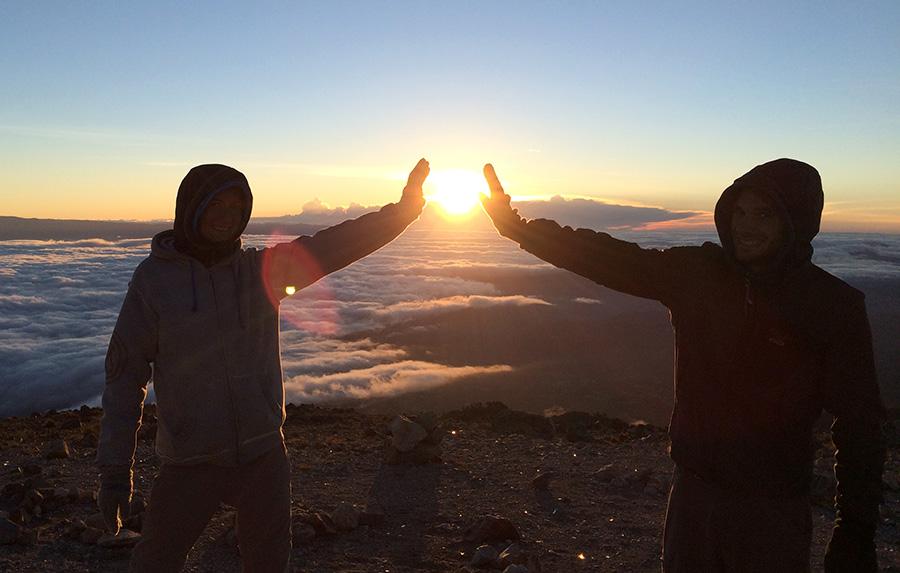 Sonnenaufgang auf dem Vulkan Tajumulcu in Guatemala