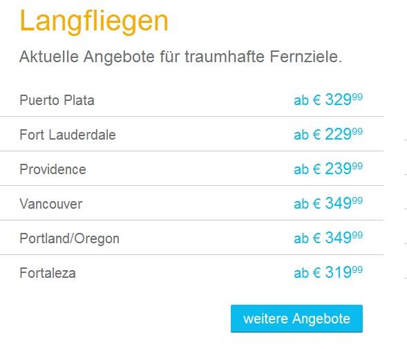 Condor Angebote für Langstreckenflüge