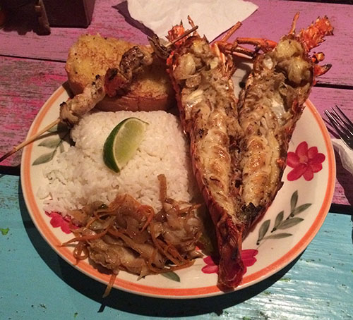 Lobster im Enjoy auf Caye Caulker
