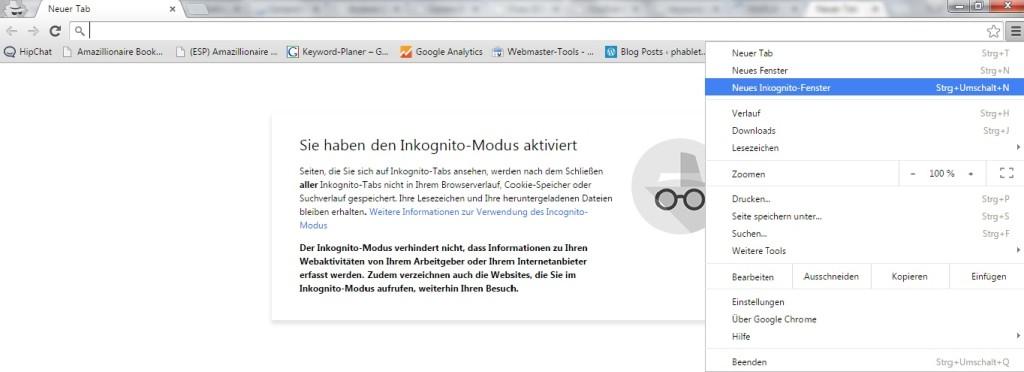 So findest du die Inkognito-Einstellung bei Chrome