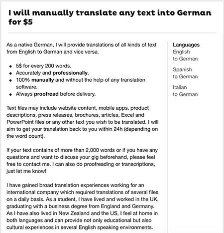Beispiel meines Übersetzungs-Gigs bei Fiverr