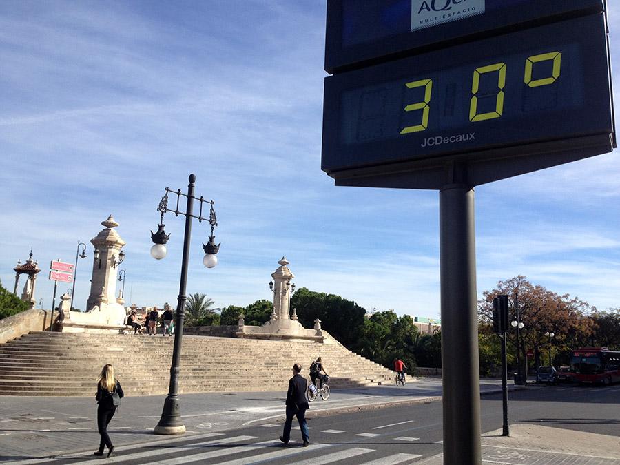 Hohe Temperaturen in Valencia