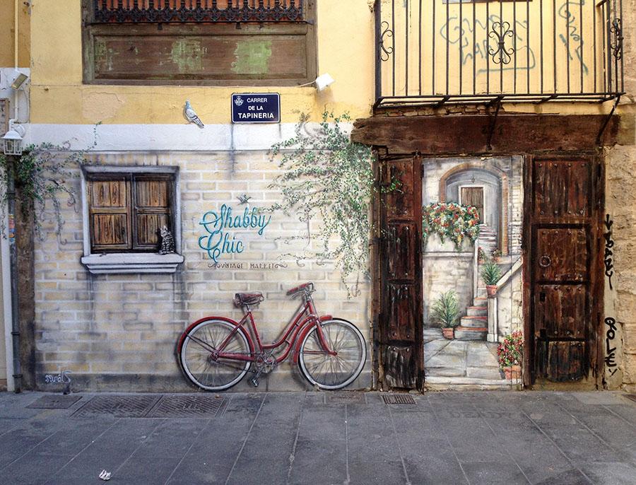 Wandmalerei in den kleinen Gassen von Valencia