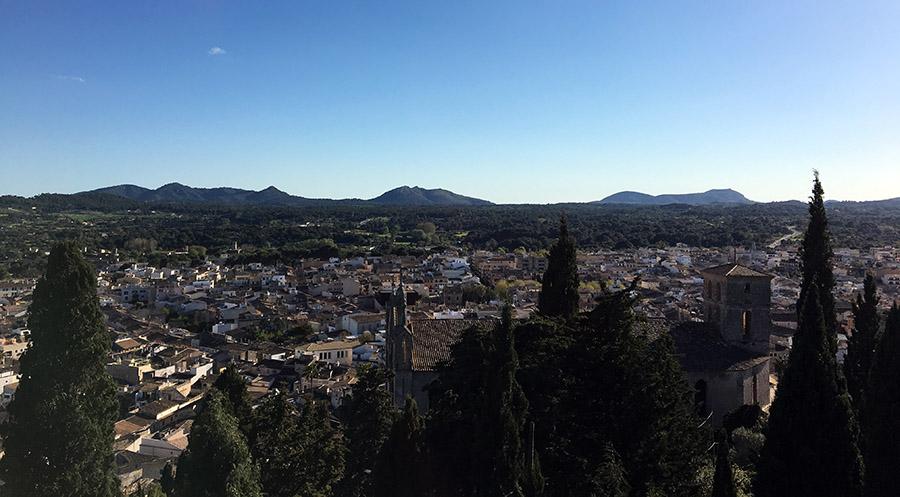 Aussicht von der Wallfahrtskirche Sant Salvator in Artá, Mallorca