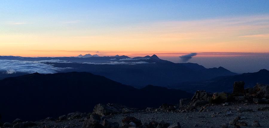 Blick vom Tajumulco über die Vulkane Guatemalas