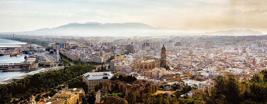 Ein herrlicher Ausblick über Málaga, Spanien