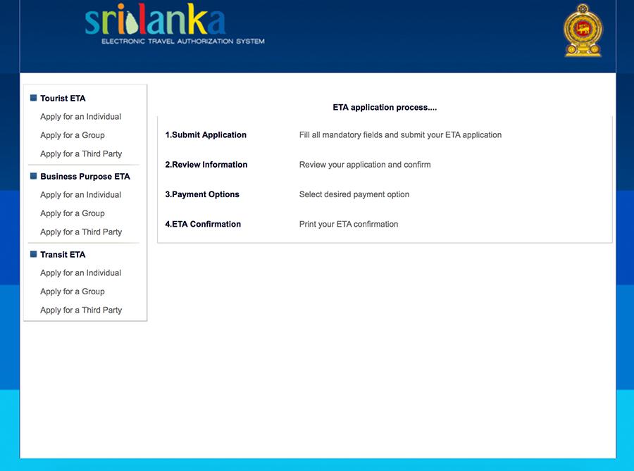 Seite 1 des ETA Antrags für dein Touristen-Visum für Sri Lanka