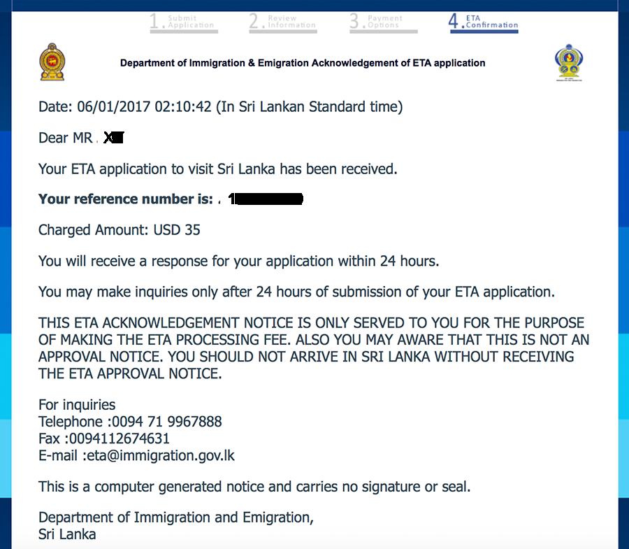 Bestätigung über den Erhalt deines ETA Antrags für dein Touristen-Visum für Sri Lanka