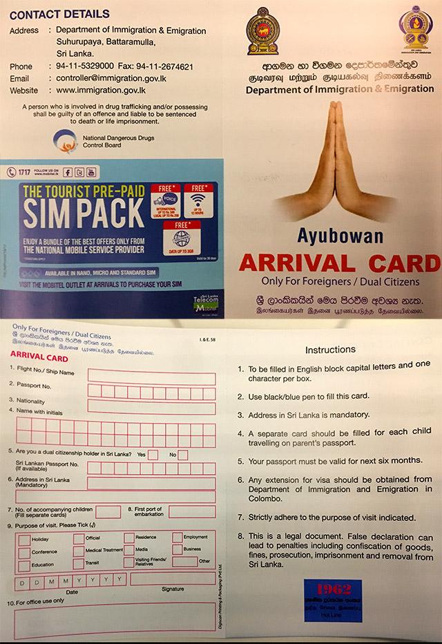 Arrival Card für deine Einreise in Sri Lanka