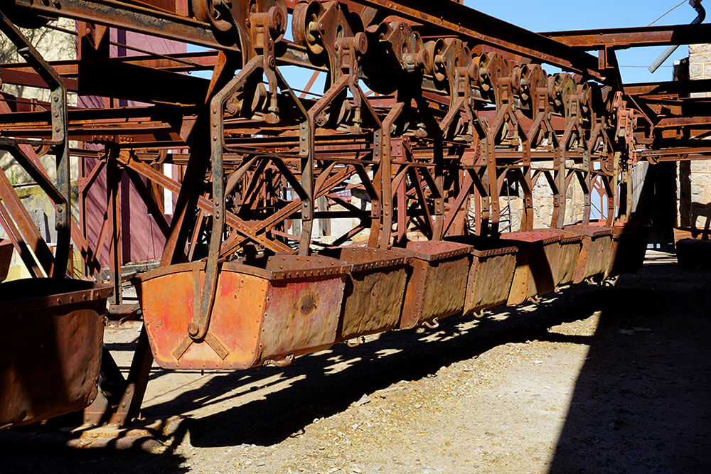 Die zweite Station der Seilbahn zur stillgelegten Mine La Mejicana in Chilecito, Argentinien